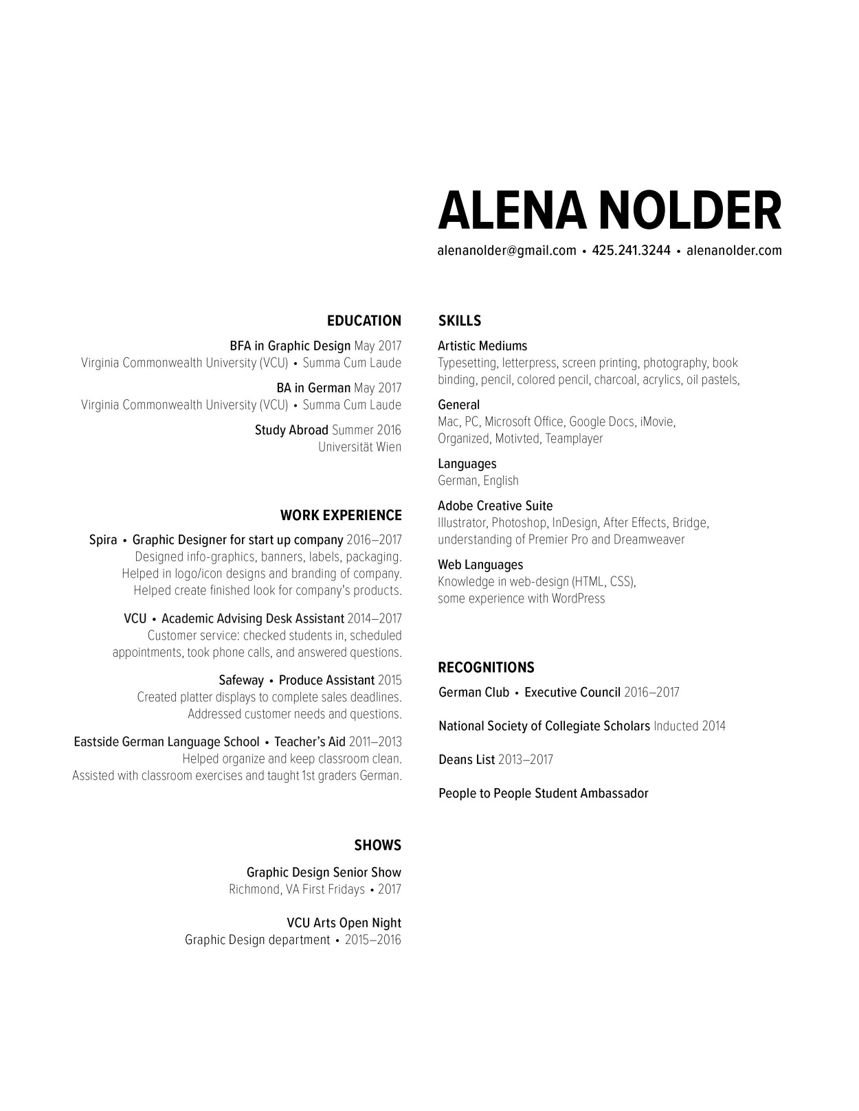 Resume Alena Nolder